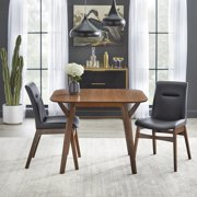 TMS Vance 3 Piece Square Dining Set, Walnut and Black Faux Leather