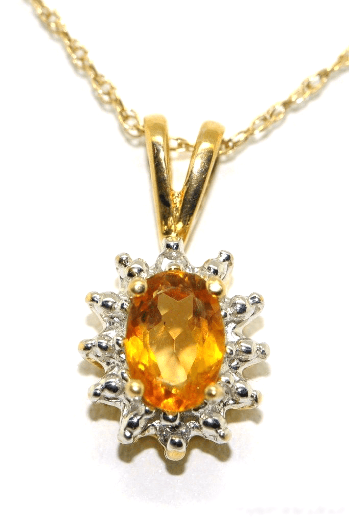 November Birthstone Pendant Necklace Citrine   Yellow Topaz 14K Yellow Gold or 14K White Gold by Elie Int.