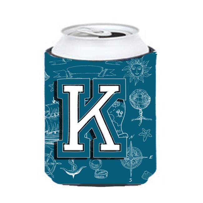 Carolines Treasures CJ2014-KCC Letter K Sea Doodles Initial Alphabet Can & Bottle Hugger - image 1 de 1