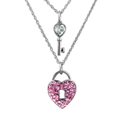 Sterling Silver Plate Layered Key & Red Heart Lock Pendant 16+2/18+2 (Tiffany Heart Lock Pendant)