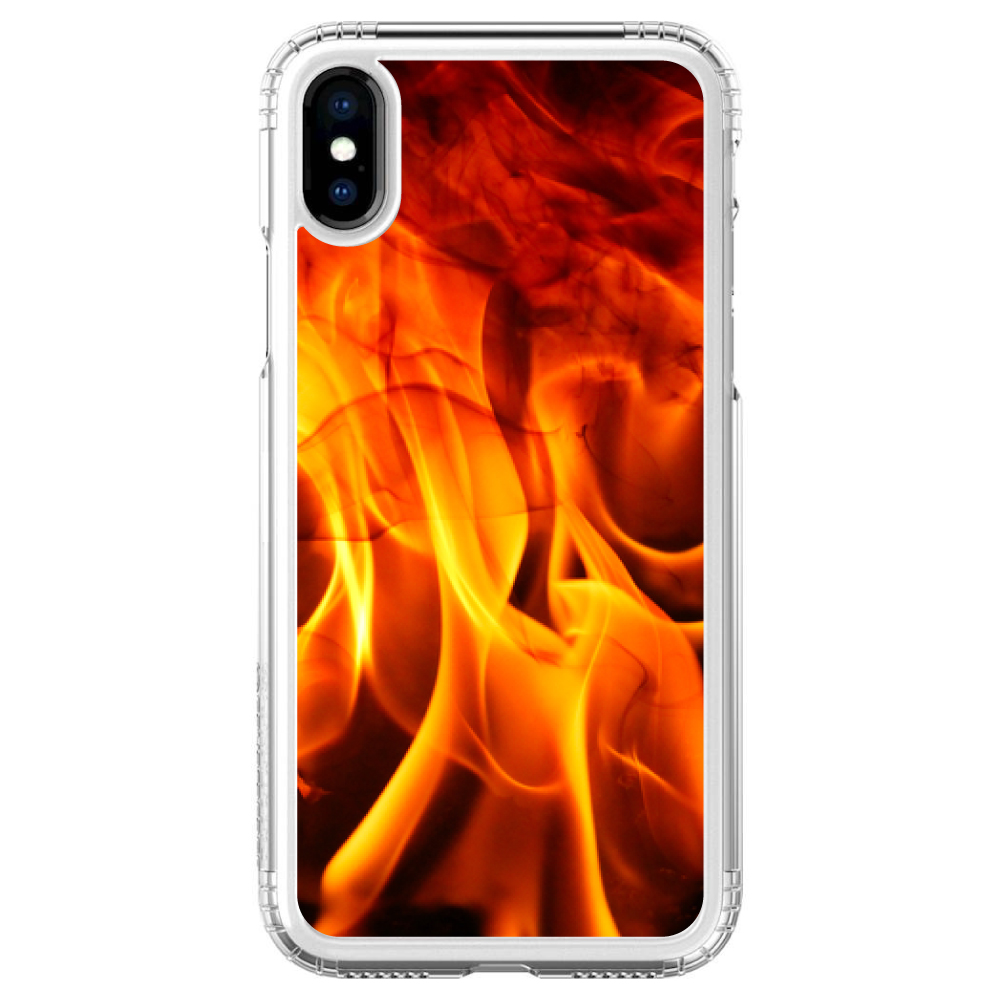"""SaharaCase iPhone X / XS (5.8"""" Screen) Clear Shockproof Custom Case By DistinctInk - Protective Kit & ZeroDamage Screen Protector - Red Black Flame Fire"""