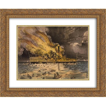 Currier and Ives 2x Matted 24x20 Gold Ornate Framed Art Print 'Awful conflagration of the steam boat Lexington in Long Island Sound on Monday eveg., Jany. 13th