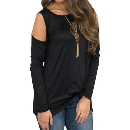 JustVH Women's Cold Shoulder Round Neck Long Sleeve Knotted Hem Blouse