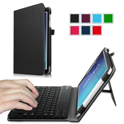 Fintie Samsung Galaxy Tab E 9.6 Tablet Case - PU Leather Folio Cover with Removable Bluetooth Keyboard, Black