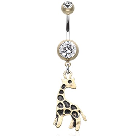 Belly Button Ring Navel Giraffe Body Jewelry Dangle 14 Gauge (Gay Belly Button Rings)
