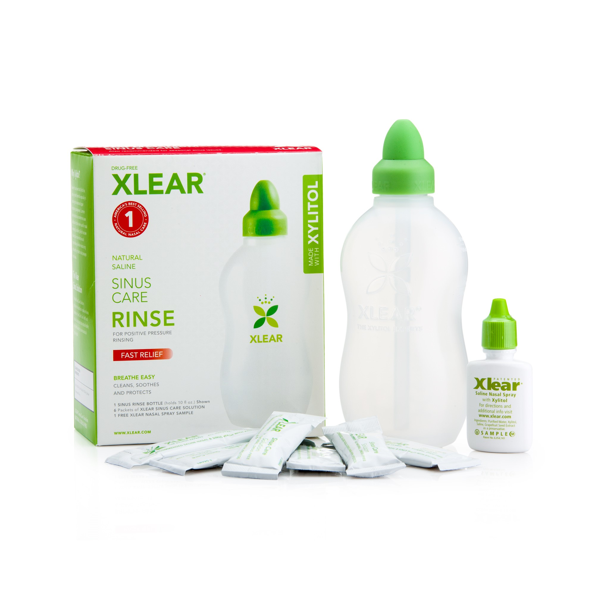Xlear Sinus Rinse Kit with Plastic Bottle & 6 Refill Packets