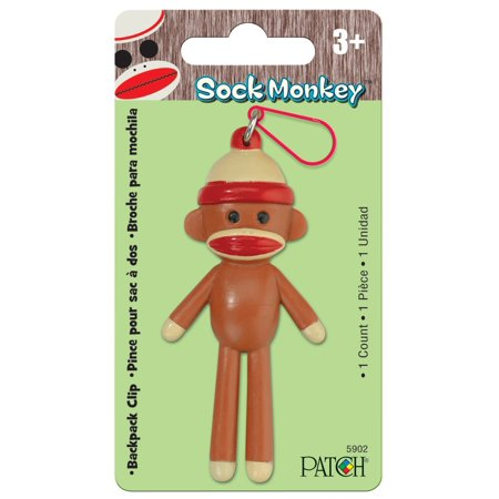 Patch Products Sock Monkey Backpack Clip, Kids young and old love Sock Monkeys By Patch Products Inc