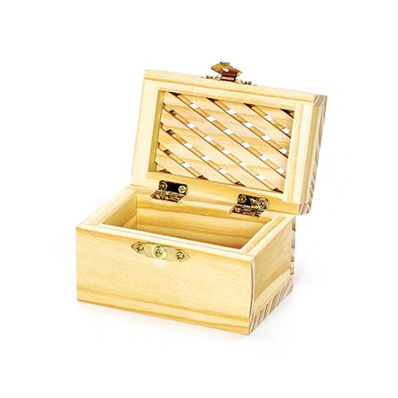 Wood Box - Hinged - With Lattice Top - 3-1/8 X 2-3/8 X 2-1/2 Inches