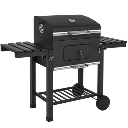 Best Choice Products Outdoor Backyard Premium Barbecue Charcoal BBQ Grill w/ 2 Wheels and Storage Shelves, (Best Barbecue Grills For The Money)