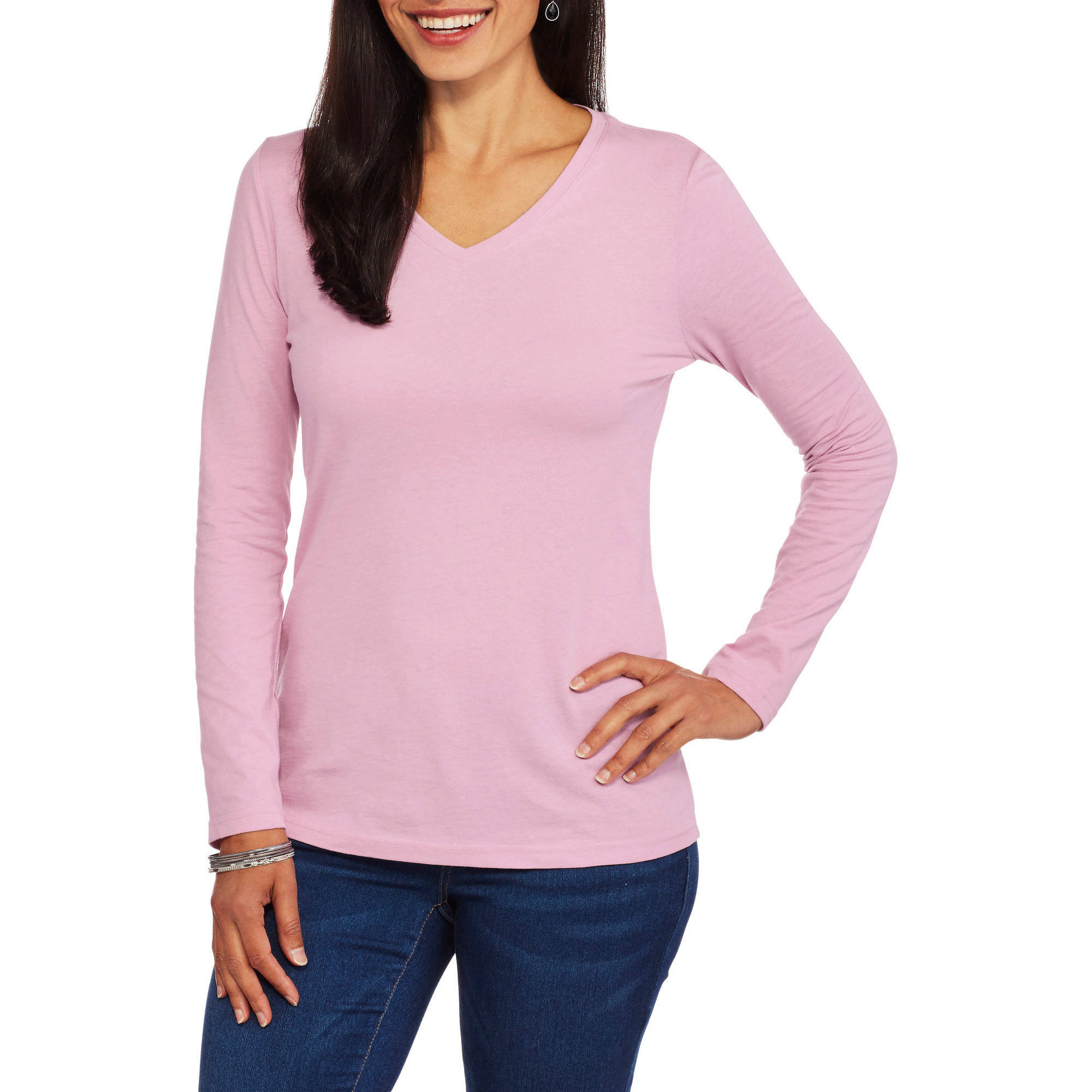 Gildan women 39 s fitted long sleeve t shirt for Long sleeve fitted tee shirt