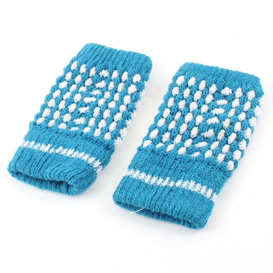 Pair Turquoise Thumb Hole Elastic Knitted Winter Fingerless Gloves for Woman