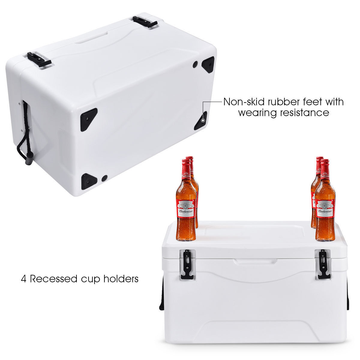 Heavy Duty Outdoor Insulated Fishing Hunting Cooler Ice Chest 64 Quart White - image 4 de 10