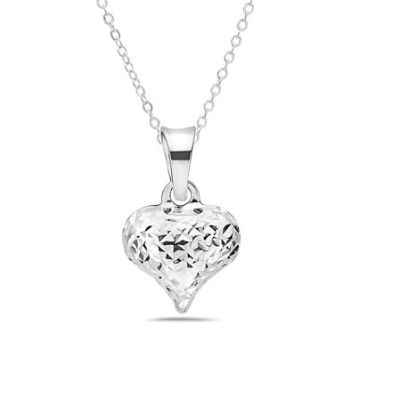 14k White Gold Diamond Cut Heart Necklace