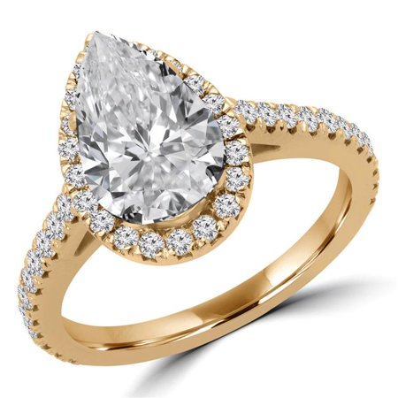 Majesty Diamonds MD180416-3.5 2.12 CTW Pear Diamond Halo Engagement Ring in 14K Yellow Gold - Size 3.5 - image 1 of 1