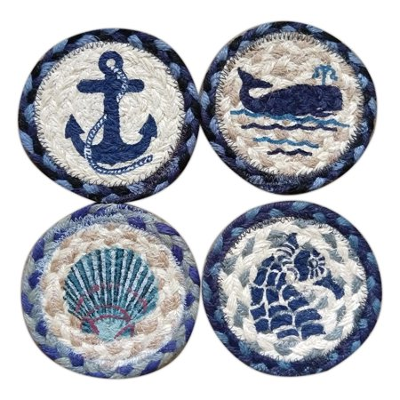 COASTAL NAUTICAL Blue 100% Natural Braided Jute Coaster, Set of 4