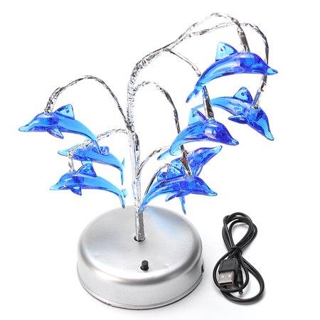 Dolphins Night Light Blue LED Lights Lamp Romantic Wedding Home Party Decor US - image 5 de 7