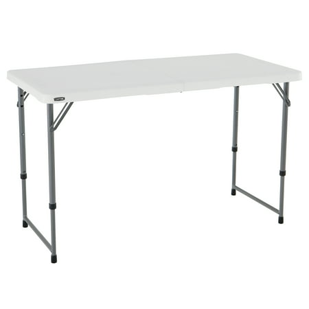 Lifetime Products Outdoor Table (Lifetime 4' Fold-In-Half Adjustable Table, White)