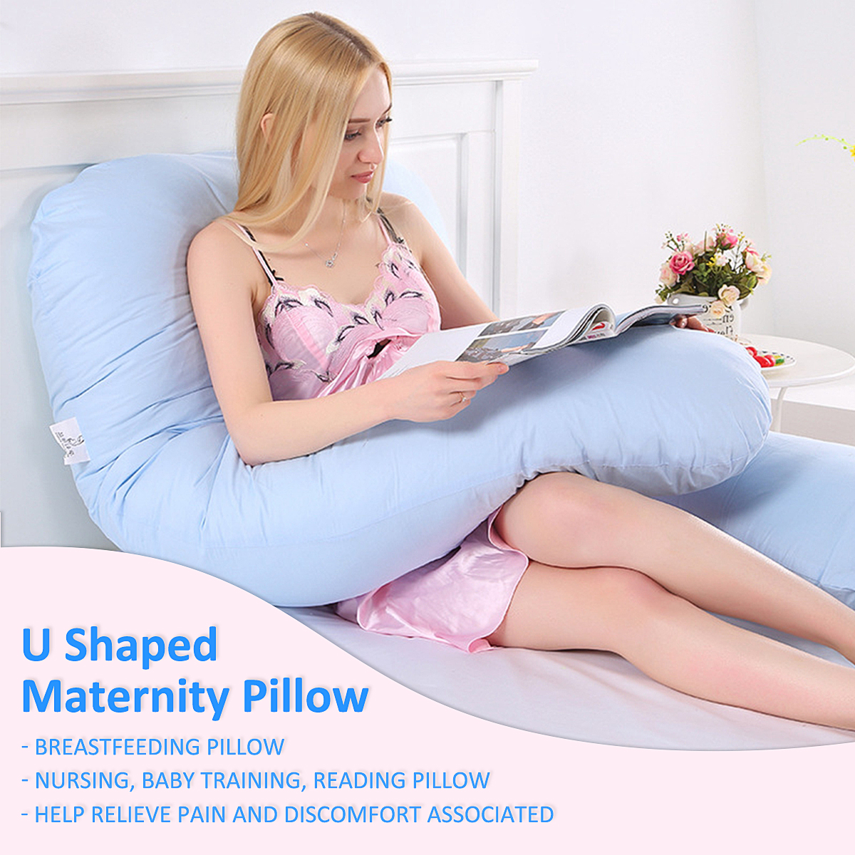 Large U Shape Total Body Pillow Pregnancy Maternity Comfort Support Cushion Sleep Nursing Maternity Sleep bed Pillow Blue