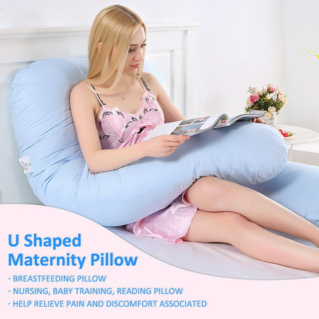 Total Body Pillow Large U Shape Full Body Pillow Pregnancy Maternity Comfort Support Cushion Sleep Nursing Maternity Sleep Bed Baby Training Reading Pillow Pillow Blue