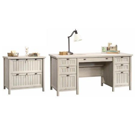 Sauder 2 Piece Executive Desk and Lateral File Set in Chalked Chestnut - image 5 of 5