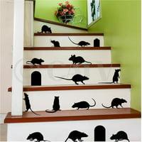 Rats Mice Doors Set of 17 Halloween Vinyl Wall Pattern Decal Stickers (Black)