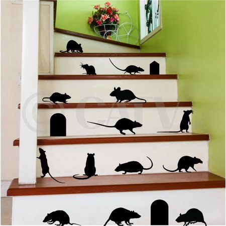 Rats Mice Doors Set of 17 vinyl lettering decal home decor wall art saying halloween - Scary Halloween Tombstones Sayings