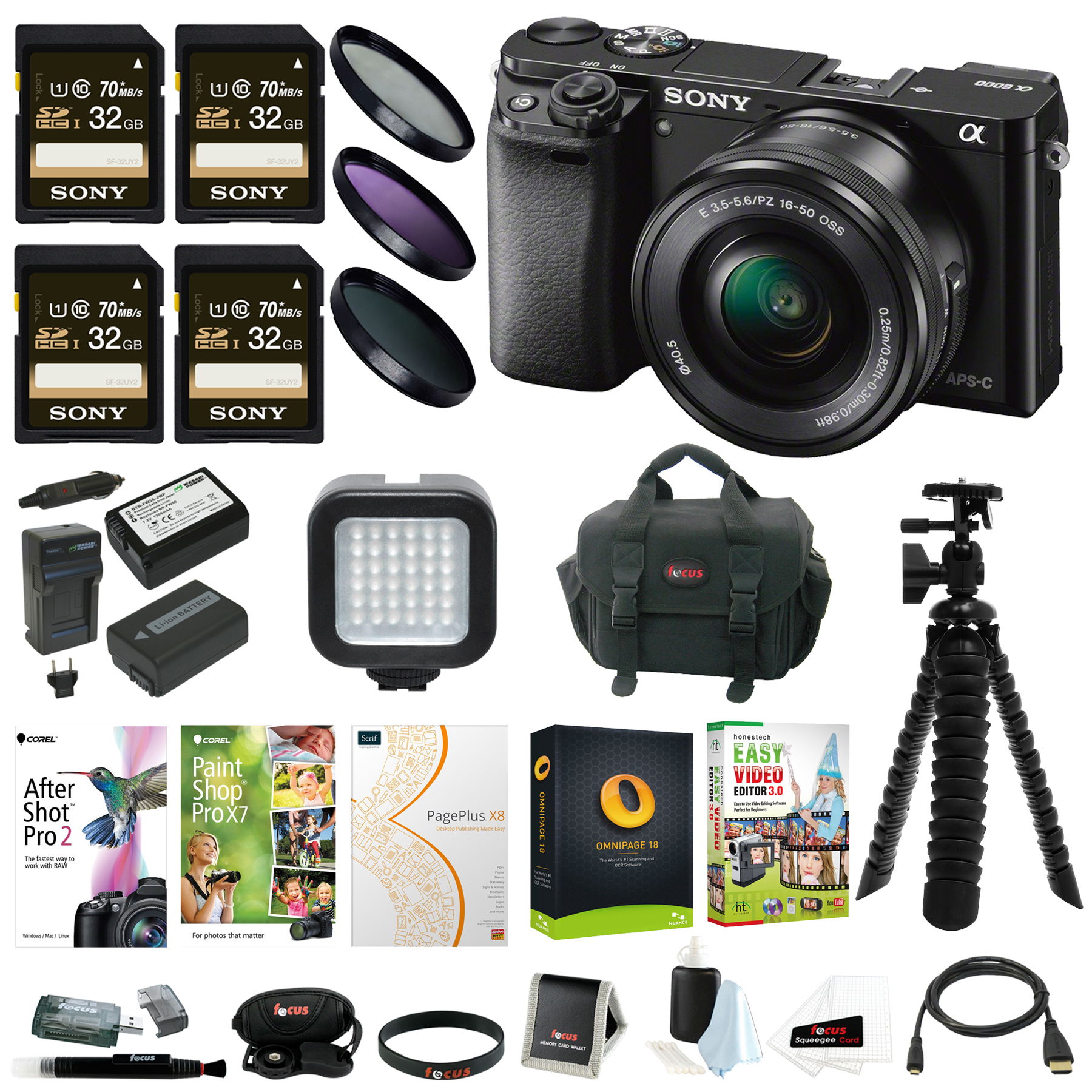 Sony a6000 Camera with 16-50mm Lens (Black) + Creative & Office Software Suite + Accessory Bundle