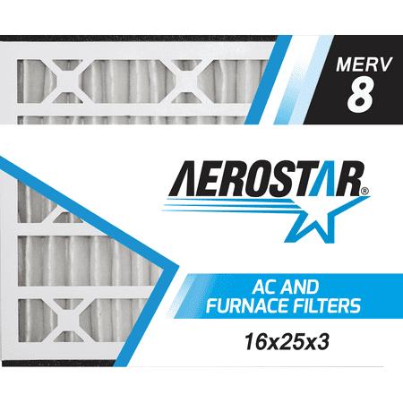 16x25x3 Trion Air Bear Replacement Furnace Air Filters by Aerostar - Merv 8, Box of 3