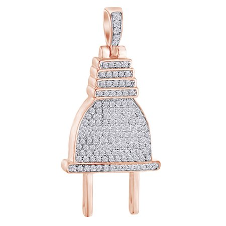 1 Cttw Round Shape White Natural Diamond Iced Out Hip Hop Jewelry Plug Charm Pendant In 14k Solid Rose