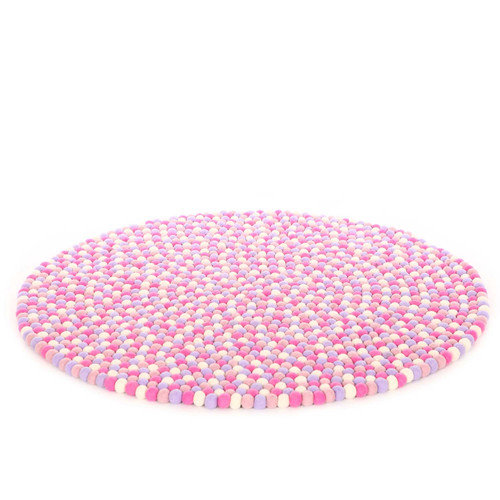 Walk On Me Happy as Larry Marshmallow Felt Ball Kids Rug