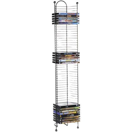 Atlantic 42u0022 Nestable 52 DVD/Blu-Ray/Games Storage Rack - Space Saving Modern Design in High End Gunmetal Finish with Blue Molded Handle