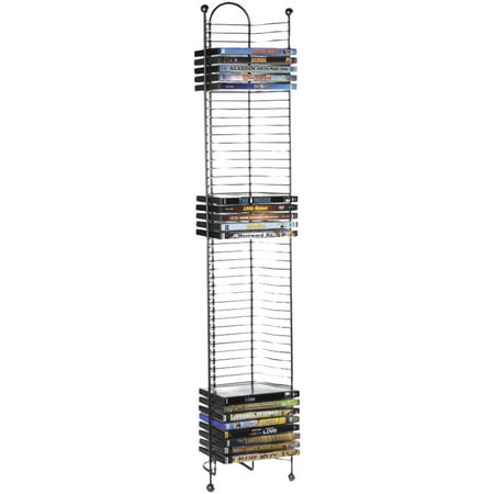 """Atlantic 42"""" Nestable 52 DVD/Blu-Ray/Games Storage Rack - Space Saving Modern Design in High End Gunmetal Finish with Blue Molded Handle"""