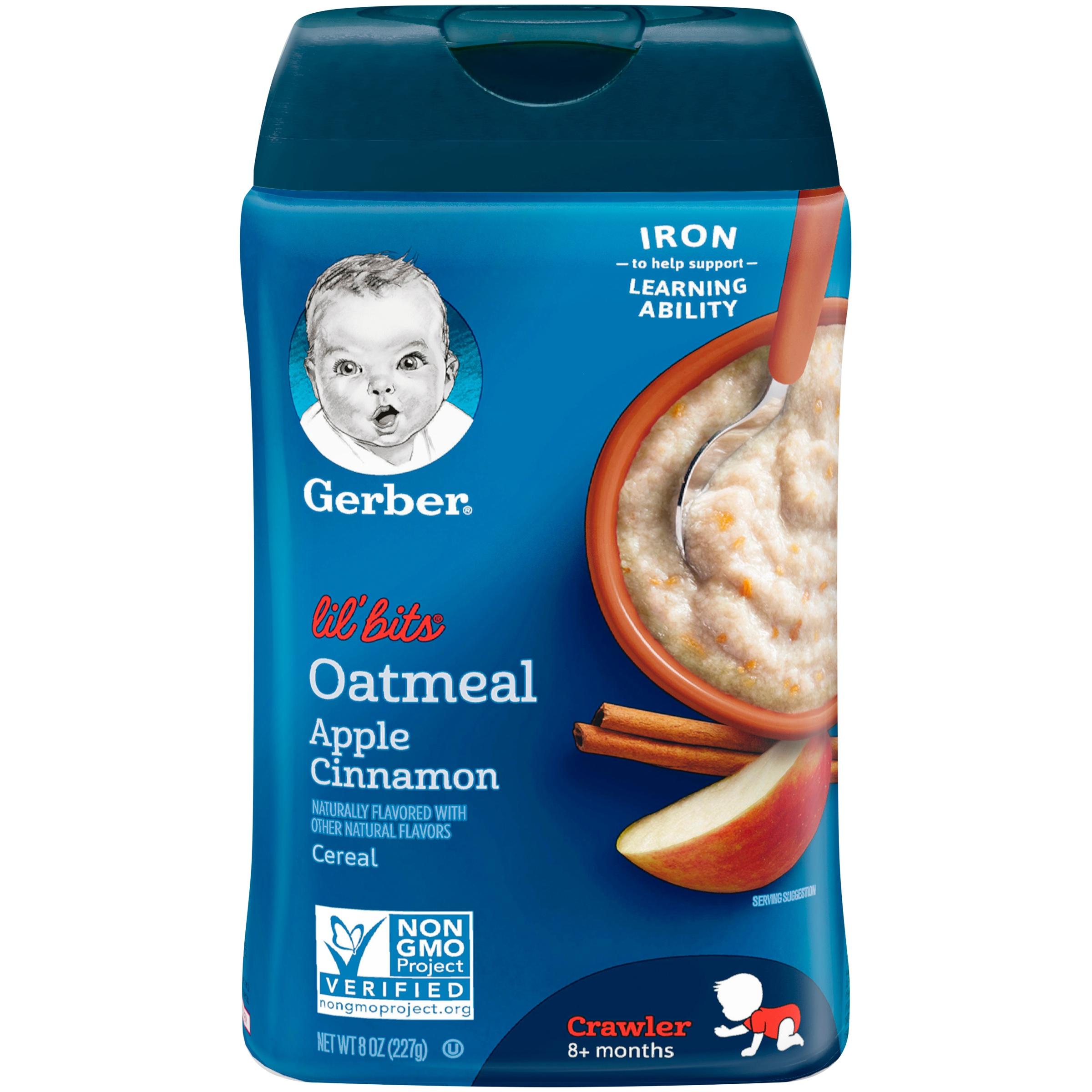 GERBER LIL' BITS Oatmeal Apple Cinnamon Baby Cereal, 8 oz