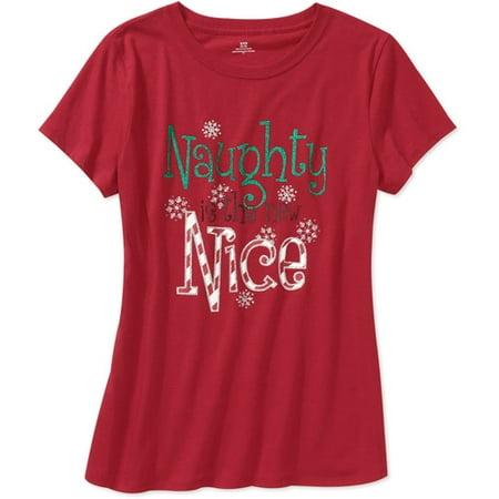 womens short sleeve naughty nice christmas tee - Christmas Shirts Walmart