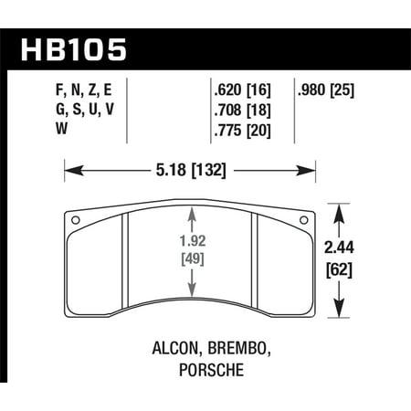 Hawk Alcon B Caliber HPS Street Brake Pads (Hawk Hps Brake Pads)