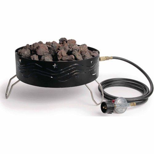 Camco 58041 Portable Propane Campfire, Includes 2 Bags of Lava Rocks