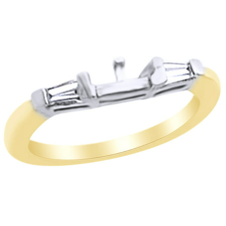 0.33 Ct Baguette Cut White Natural Diamond Semi Mount Band Ring in 14k Yellow Gold Baguette Diamond Semi Mount Ring