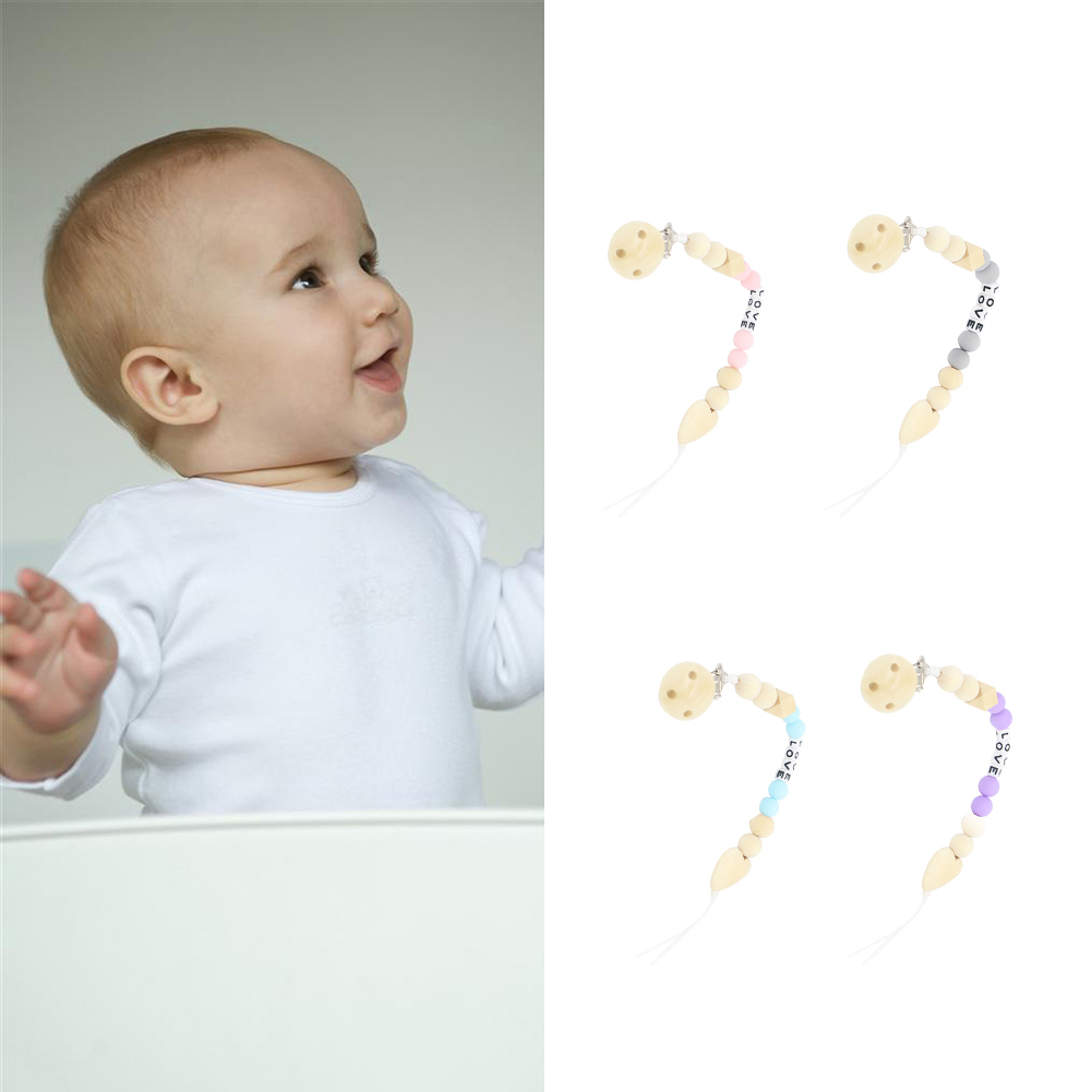 Directer Infant Baby Wooden Beaded Pacifier Holder Clip Nipple Teether Dummy Strap Chain