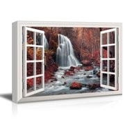 wall26 - Window View Cascading Waterfall in Mountains with Red Trees Gallery - Canvas Art Wall Decor - 32x48 inches