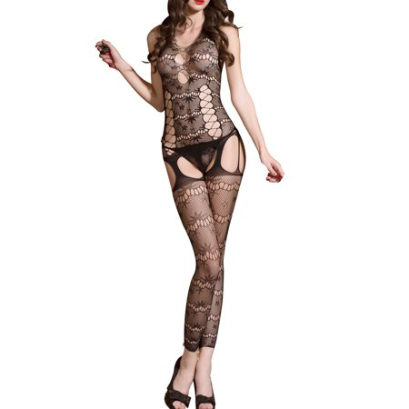 Cut Halter Bodystockings - JenniWears Sexy Women's Cut Out Backless Body Stocking Gartered Lingerie