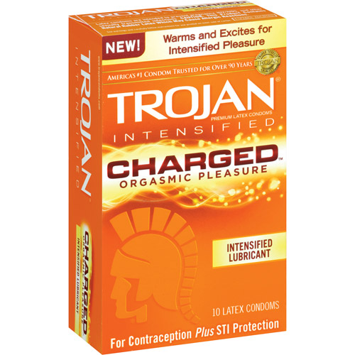 Trojan Intensified Charged Orgasmic Pleasure Lubricant Condoms, 10 count