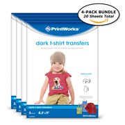 Printworks Dark T-Shirt Transfers for Inkjet Printers, For Use on Dark and Light/White Fabrics, Photo Quality Prints, 20 Sheets,(4-pack Bundle) 8 ?? x 11? (00545)
