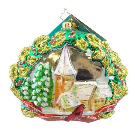 Christopher Radko OLD FASHIONED NEW YORK  Glass Ornament Christmas Church Holly ()