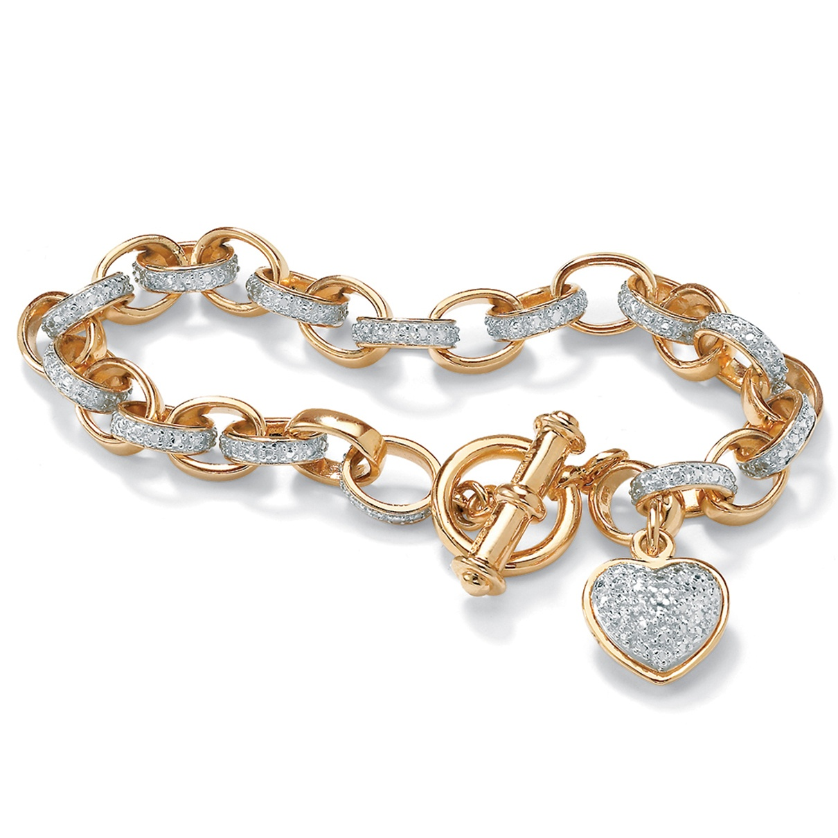 Diamond Accent Heart Charm Bracelet in 18k Gold over Sterling Silver 7.25""
