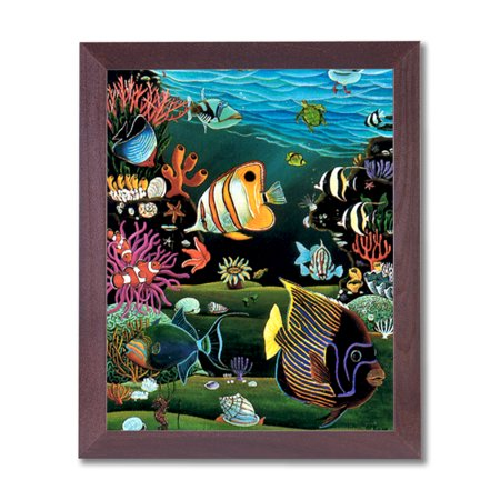 Tropical Ocean Fish Exotic Coral Reef Animal Wildlife Wall Picture Cherry Framed Art Print