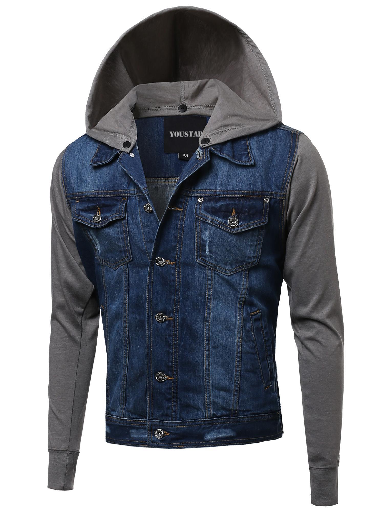 FashionOutfit Men's Stone Washed Denim Color Contrast Detachable Hoodie Jacket