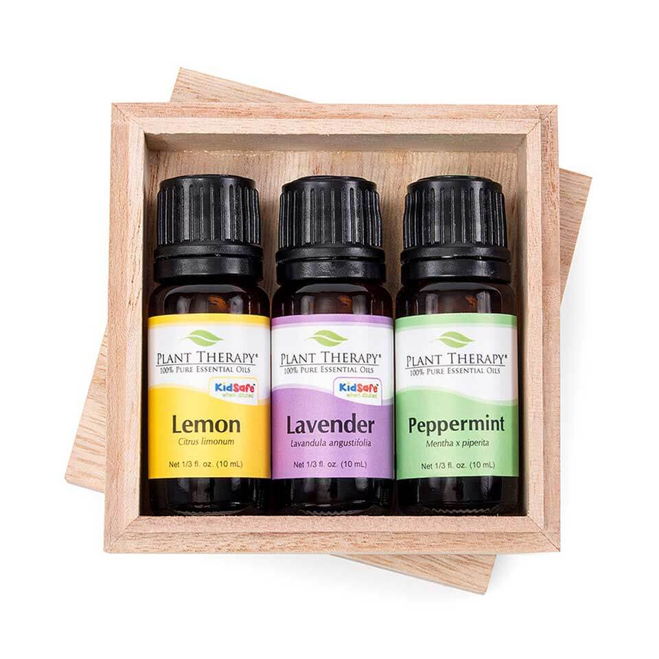 Plant Therapy Lemon, Lavender, Peppermint Essential Oil Set, 10 mL (1/3 fl. oz.)each , 100% Pure, Undiluted, Therapeutic Grade
