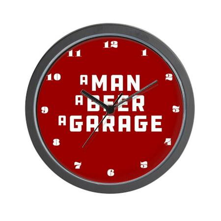Beer 10 Wall Clock (CafePress - A Man A Beer A Garage - Unique Decorative 10