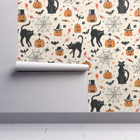 Wallpaper Roll Halloween Black Cat Bats Jack O Lantern Trick Or 24in x 27ft