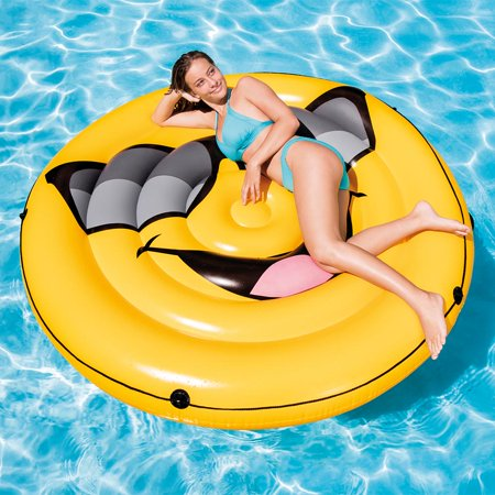 Intex Giant Inflatable Emoji Cool Guy Island Lounger Ride-On Swimming Pool Float